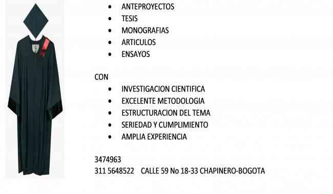 ANTEPROYECTOS, TRABAJO, TESIS Y MONOGRAFIAS 3474963 EXCELENTES