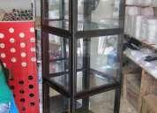 vitrina exhibidora o bife de madera vidrio y espejos con iluminación