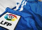 Camiseta real madrid azul lfp o naranja logos champions