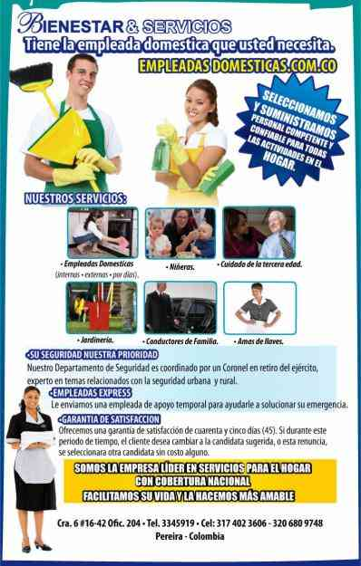 Empleadas Domesticas  -  Servicio Domestico  -- WWW.EMPLEADASDOMESTICAS.COM.CO