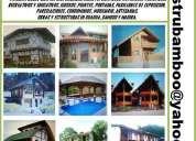 Guadua y bamboo, casas, kioscos, puentes, fachadas, artesanias, estructuras, instalaciones, columnas